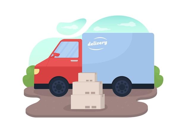 漫画の配送サービスのバン配送フラットイラストの近くの小包の配達トラックとパッケージボックス