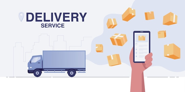 배달 트럭 개념입니다. 스마트폰의 빠른 배송 서비스 앱.