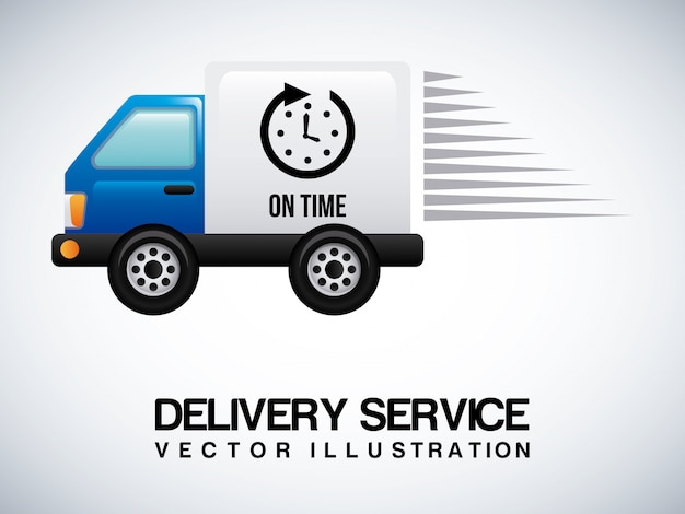 Delivery truck on gray