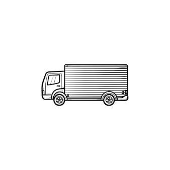 配達トラックの手描きのアウトライン落書きアイコン。短納期、貨物バン、配送コンセプト