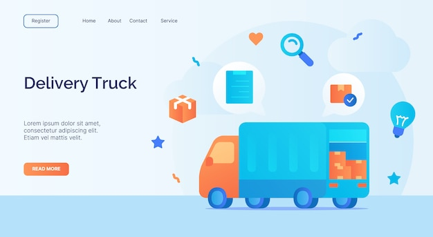 Delivery truck icon campaign for web website home homepage landing template banner with cartoon flat style