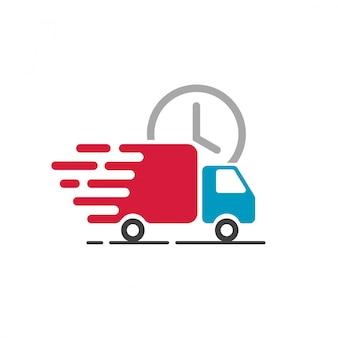 빠른 배송 서비스 기호에 대 한 배달 트럭 아이콘 벡터
