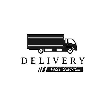 配達トラックのロゴデザインテンプレート