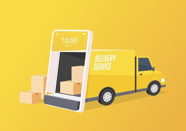 배달 트럭이 휴대폰 화면에서 문을 엽니 다.