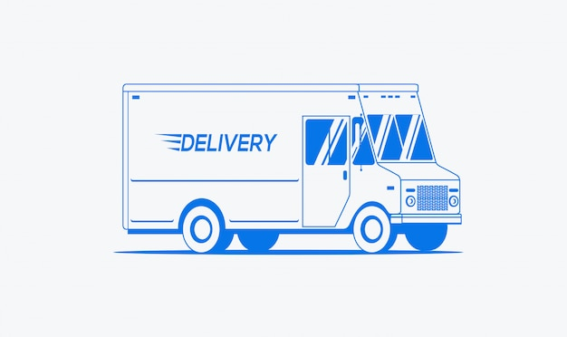 Delivery truck outlined silhouette. logistic, shipping concept. isolated on white background.