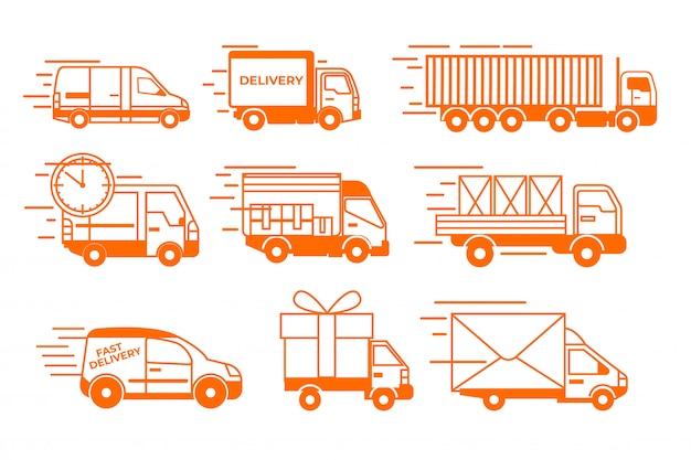 배달 트럭 세트. 격리 된 평면 밴 및 트럭 차량 컬렉션. 배달 운송 기호를 이동합니다.