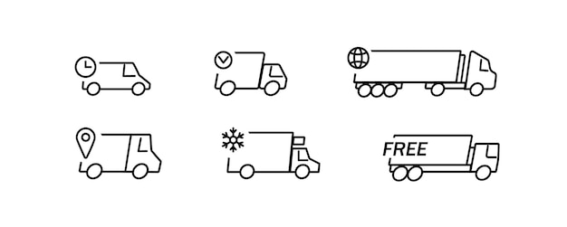 Delivery truck sign isolated set for cargo service