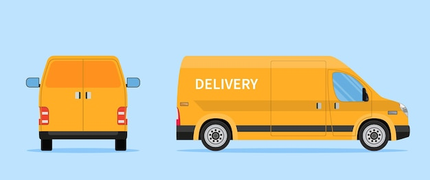 Delivery truck van isolated on white background.