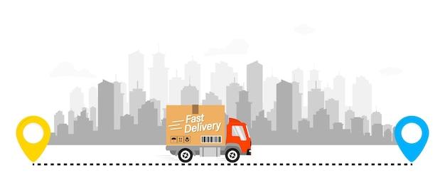 携帯電話と都市の背景に段ボール箱付きの配達用トラック。 eコマースの概念。 webページ、アプリのデザイン。速達サービス。配送ルート