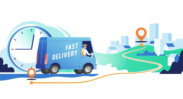 Delivery truck with man is carrying parcels on points