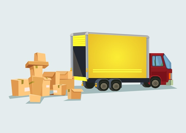 Delivery truck with many box. flat cartoon illustration