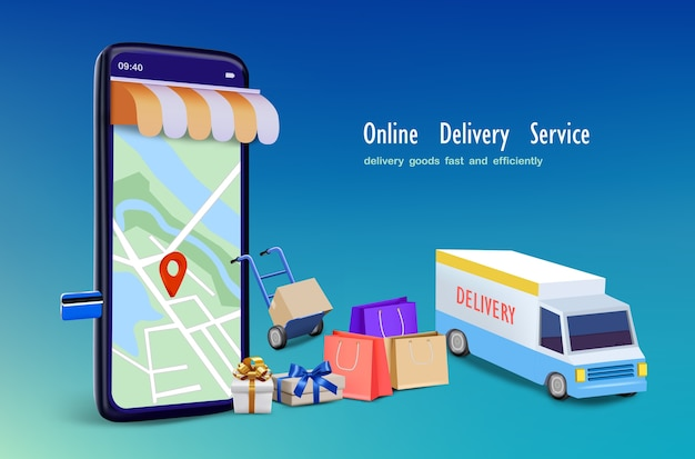 Delivery truck with shopping bag and map application  for online shopping