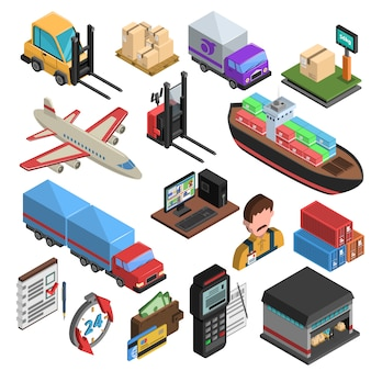 Delivery types isometric icons set
