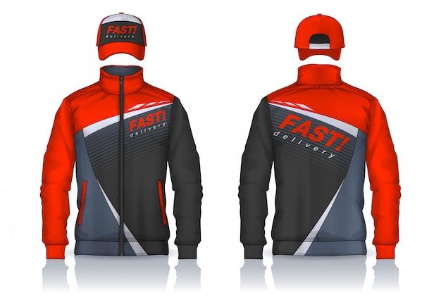 配達ユニフォーム、ジャケットとキャップのテンプレートデザイン、企業のワークシャツ。