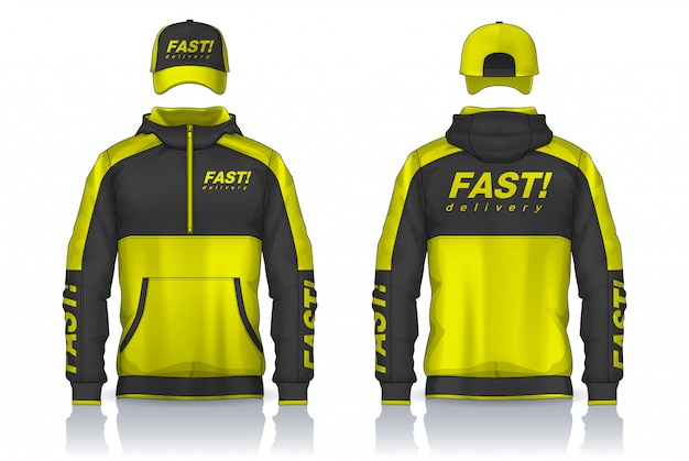 Delivery uniform,jacket and cap templates design, corporate work shirts.