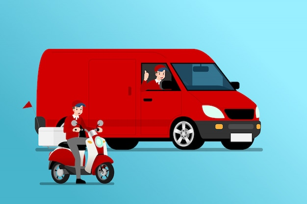 Delivery van and bike ready for going to deliver parcel.