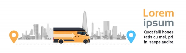 Delivery van on city between location pointers. product goods shipping transport, fast service truck