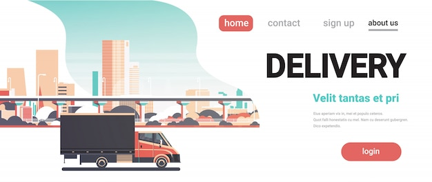 Delivery van city shipping transportation service truck banner
