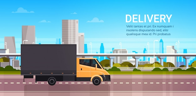 Delivery van over city. shipping transportation service truck concept