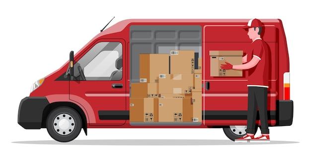 Фургон, полный картонных коробок, изолированные на белом фоне