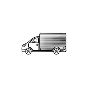 配達用バンの手描きのアウトライン落書きアイコン。商品輸送輸送と短納期、ロジスティックコンセプト。白い背景の上の印刷、ウェブ、モバイル、インフォグラフィックのベクトルスケッチイラスト。