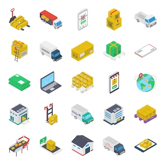 Delivery van isometric icons pack
