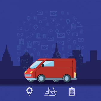 Delivery van logistic service isolated icon