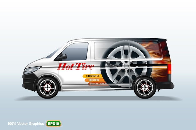 Delivery van template. with advertise, editable layout.