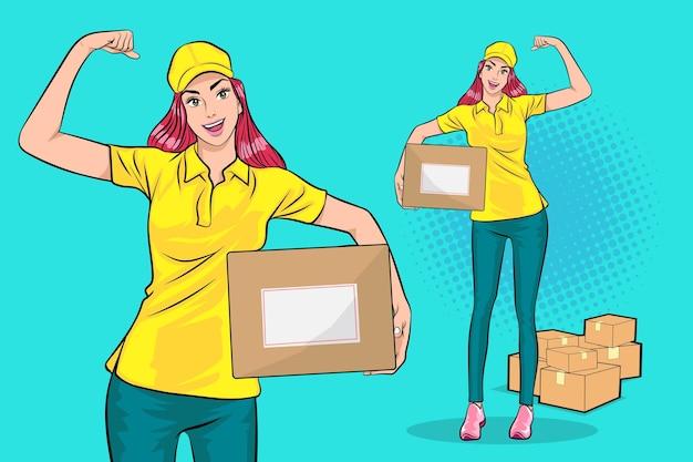 大きな小包ボックスと強力なアクションポップアートコミックスタイルを運ぶ配達の女性