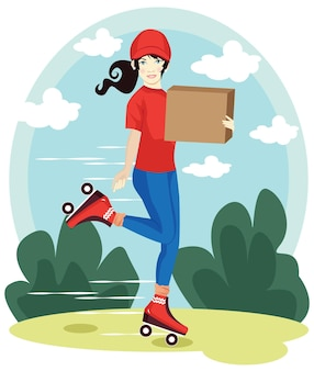 Delivery woman, delivery a package with red hat and t-shirt cartoon vector illustration