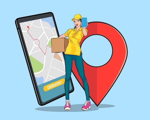 큰 상자를 들고 있는 배달 여성 직원은 스마트폰을 보여주고 온라인 팝 아트 만화 스타일을 쇼핑합니다.