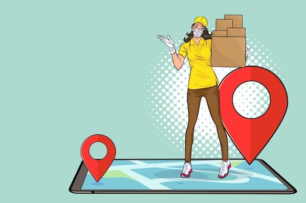 마스크와 탐색 빠른 온라인 배달 서비스 팝 아트 만화 스타일을 가진 배달 여성 직원.
