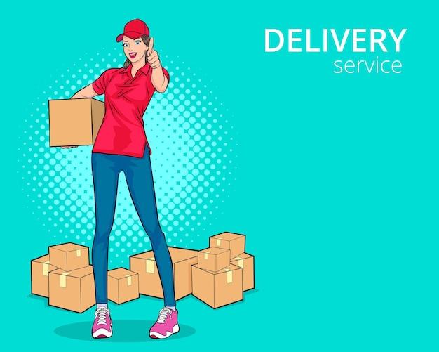 Доставщик в красной кепке, отдавая коробки с заказами, показывает большой палец вверх в ретро винтажном стиле поп-арт в стиле комиксов