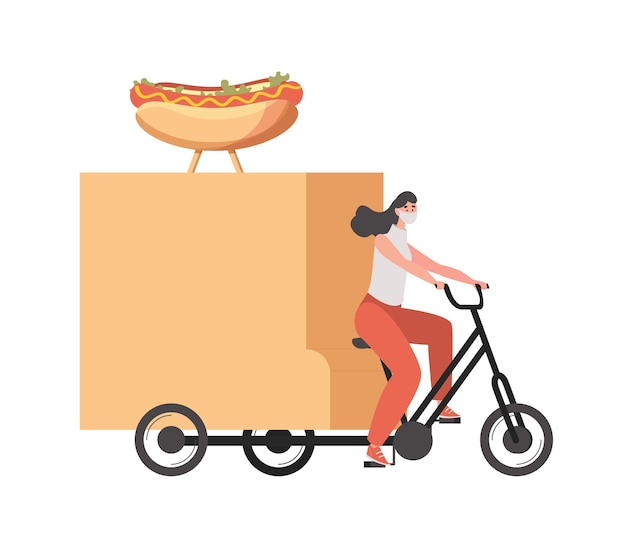 Delivery woman in medical face mask riding on bike and