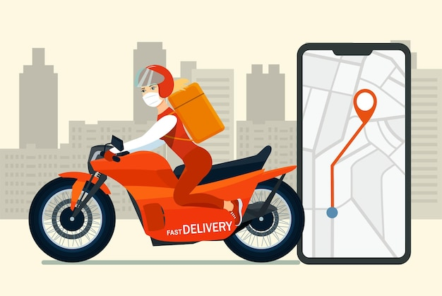 Delivery woman in medical mask on a motorbike makes fast delivery