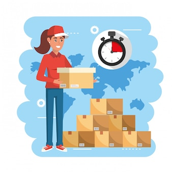 Delivery woman with boxes packages service and chronometer