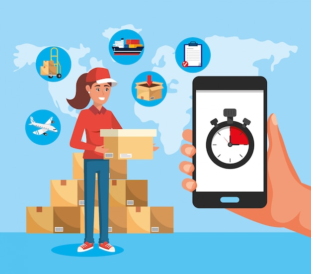 Delivery woman with boxes service and smartphone with chronometer