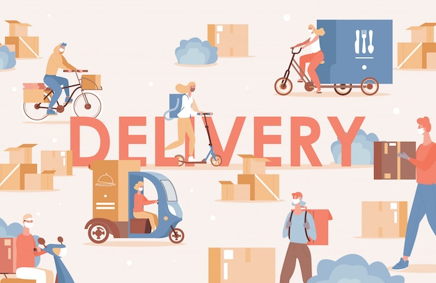 Delivery word flat poster design. people in medical face masks deliver goods or food on bike, scooter or truck. non contact online shipping during coronavirus covid-19 outbreak.