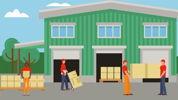 倉庫、ボックス輸送イラストで配達員。キャラクターは、輸送サービスで商品を発送します。