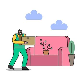 배달원은 집으로 이사하는 동안 포장 상자를 운반합니다. 집 이전을위한 수컷 로더