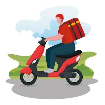 風景の中のオートバイのキャラクターの配達員