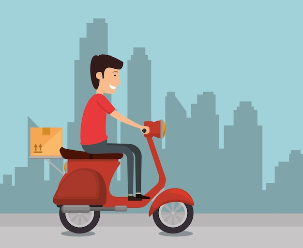 Delivery worker in motorcycle