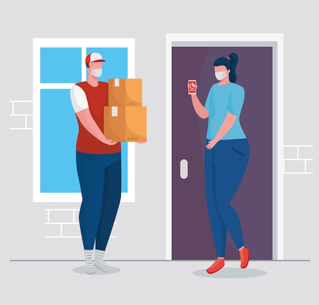 Delivery worker wearing medical mask with female client characters