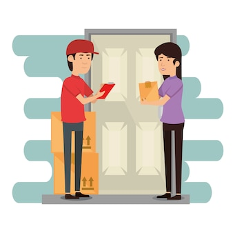 Delivery worker with receiver