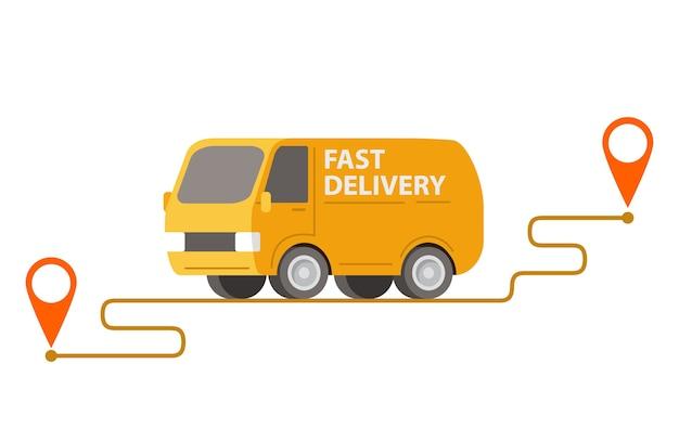 ポイントに小包を運ぶ黄色いバンを配達します。白い背景に貨物車。