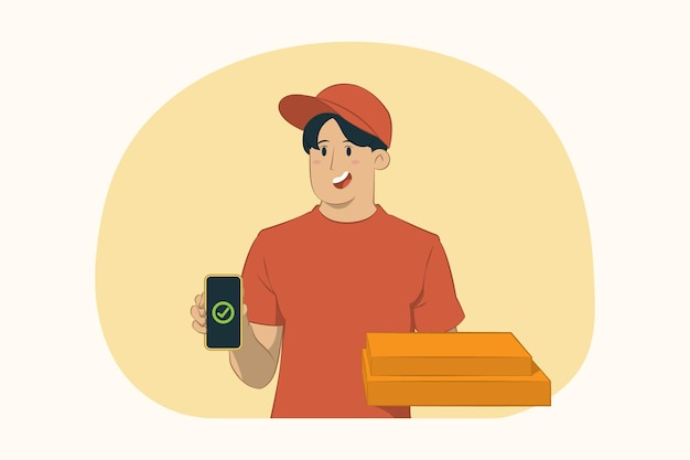 Delivery young man giving food order pizza boxes concept