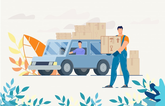 Deliveryman driver on truck with parcels in boxes illustration