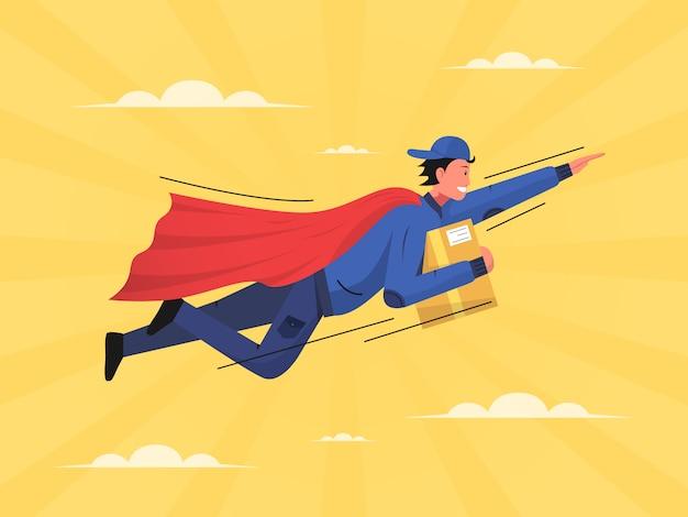 Deliveryman flying wear capes illustration