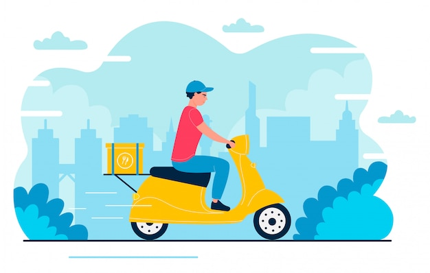 Deliveryman illustration. cartoon flat fast courier, postman character driving scooter, delivering package box in express shipment to home address. fast delivery service isolated