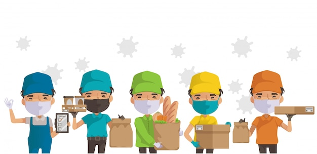 Deliveryman mask group. man holding box or product. deliveryman isolated.